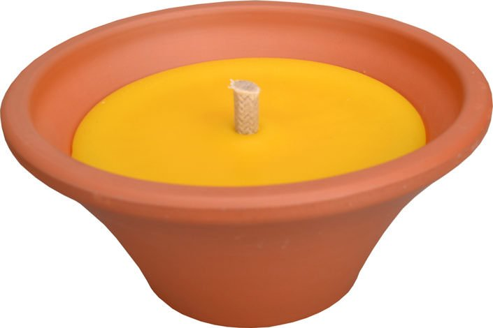 Terracotta candle bowl