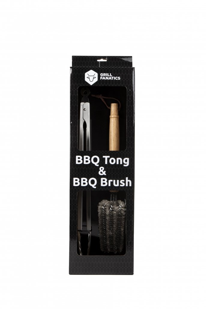Grill Fanatics set of a BBQ brush and a BBQ tong